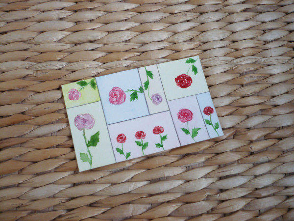 carte roses aquarelle