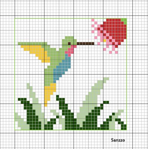 Grille gratuite colibri avec deux z - Point de croix grilles gratuites ...