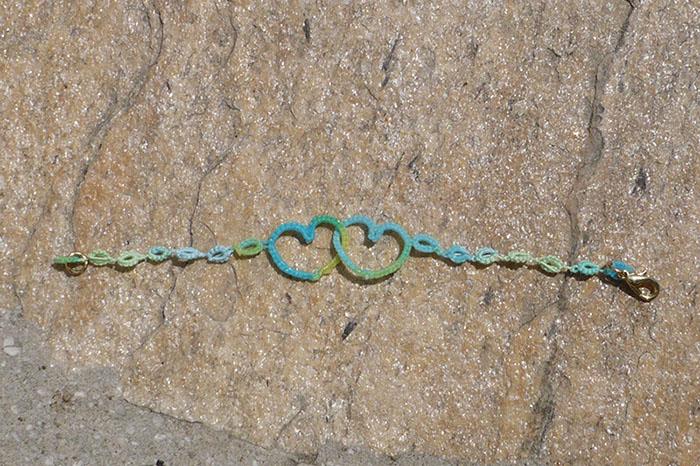 frivolité bracelet coeur lizbeth