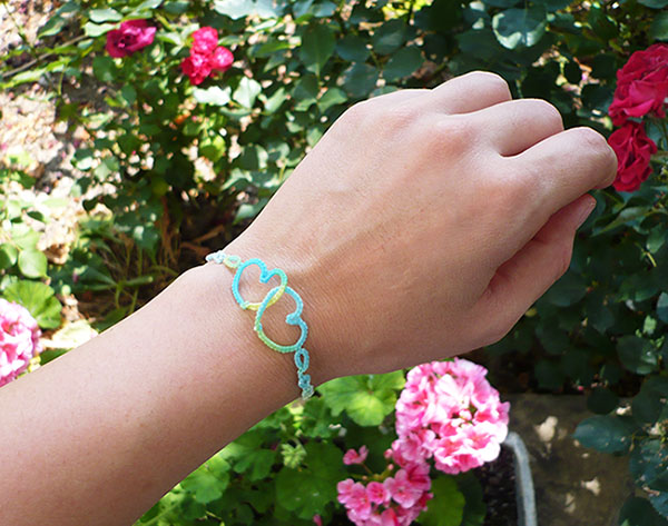 frivolité bracelet coeur