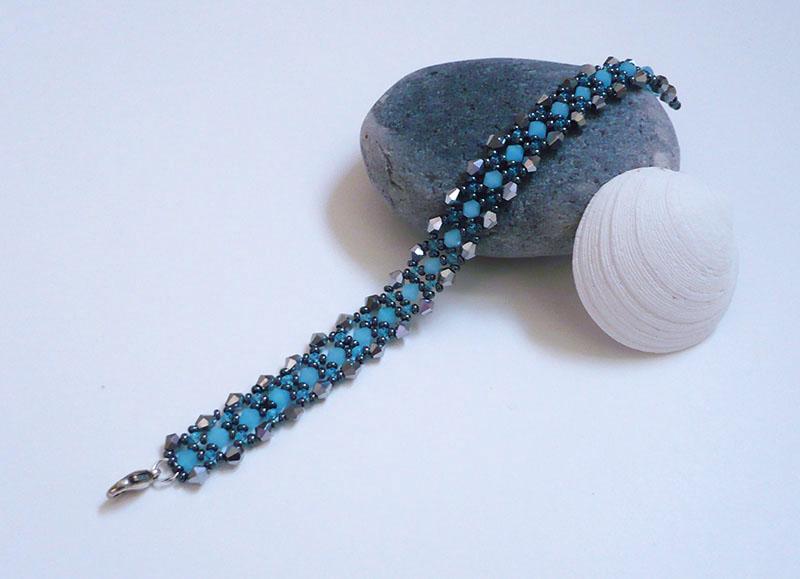 bracelet bleu et argent toupies crystal 2
